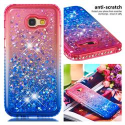 Diamond Frame Liquid Glitter Quicksand Sequins Phone Case for Samsung Galaxy A5 2017 A520 - Pink Blue