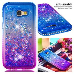 Diamond Frame Liquid Glitter Quicksand Sequins Phone Case for Samsung Galaxy A5 2017 A520 - Blue Purple