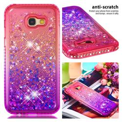 Diamond Frame Liquid Glitter Quicksand Sequins Phone Case for Samsung Galaxy A5 2017 A520 - Pink Purple