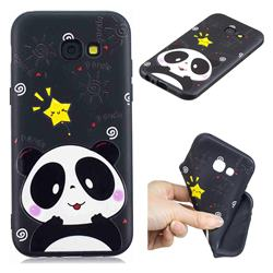 Cute Bear 3D Embossed Relief Black TPU Cell Phone Back Cover for Samsung Galaxy A5 2017 A520