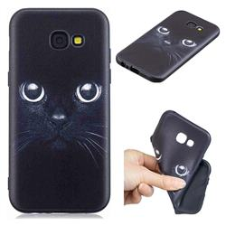 Bearded Feline 3D Embossed Relief Black TPU Cell Phone Back Cover for Samsung Galaxy A5 2017 A520