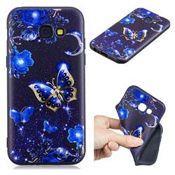 Phnom Penh Butterfly 3D Embossed Relief Black TPU Cell Phone Back Cover for Samsung Galaxy A5 2017 A520