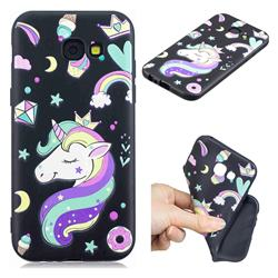 Candy Unicorn 3D Embossed Relief Black TPU Cell Phone Back Cover for Samsung Galaxy A5 2017 A520