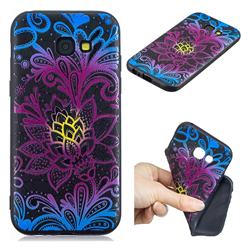 Colorful Lace 3D Embossed Relief Black TPU Cell Phone Back Cover for Samsung Galaxy A5 2017 A520
