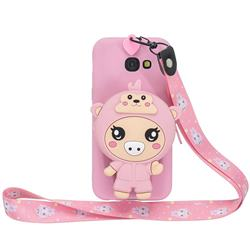 Pink Pig Neck Lanyard Zipper Wallet Silicone Case for Samsung Galaxy A5 2017 A520