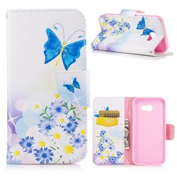 Butterflies Flowers Leather Wallet Case for Samsung Galaxy A5 2017 A520