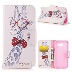 Glasses Giraffe Leather Wallet Case for Samsung Galaxy A5 2017 A520