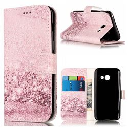 Glittering Rose Gold PU Leather Wallet Case for Samsung Galaxy A5 2017 A520