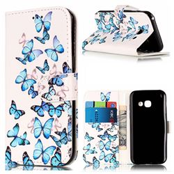 Blue Vivid Butterflies PU Leather Wallet Case for Samsung Galaxy A5 2017 A520