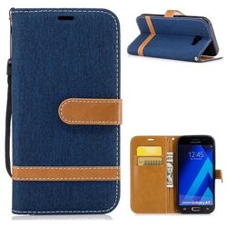 Jeans Cowboy Denim Leather Wallet Case for Samsung Galaxy A5 2017 A520 - Dark Blue