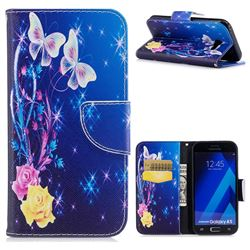 Golden Butterflies Leather Wallet Case for Samsung Galaxy A5 2017 A520