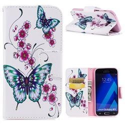 Peach Butterflies Leather Wallet Case for Samsung Galaxy A5 2017 A520