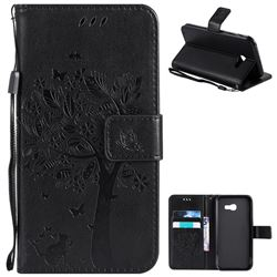 Embossing Butterfly Tree Leather Wallet Case for Samsung Galaxy A5 2017 A520 - Black