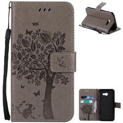 Embossing Butterfly Tree Leather Wallet Case for Samsung Galaxy A5 2017 A520 - Grey