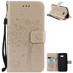 Embossing Butterfly Tree Leather Wallet Case for Samsung Galaxy A5 2017 A520 - Champagne