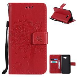 Embossing Butterfly Tree Leather Wallet Case for Samsung Galaxy A5 2017 A520 - Red