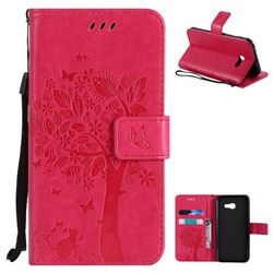 Embossing Butterfly Tree Leather Wallet Case for Samsung Galaxy A5 2017 A520 - Rose