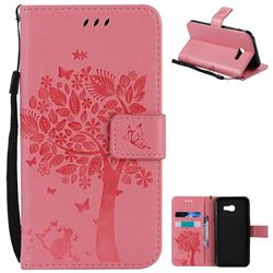 Embossing Butterfly Tree Leather Wallet Case for Samsung Galaxy A5 2017 A520 - Pink