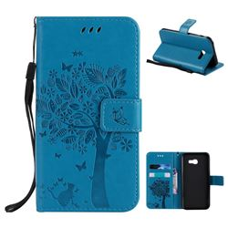 Embossing Butterfly Tree Leather Wallet Case for Samsung Galaxy A5 2017 A520 - Blue