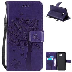 Embossing Butterfly Tree Leather Wallet Case for Samsung Galaxy A5 2017 A520 - Purple