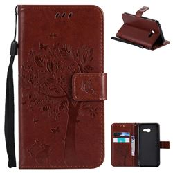 Embossing Butterfly Tree Leather Wallet Case for Samsung Galaxy A5 2017 A520 - Brown