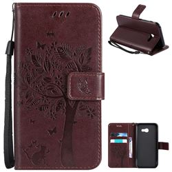 Embossing Butterfly Tree Leather Wallet Case for Samsung Galaxy A5 2017 A520 - Coffee
