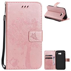 Embossing Butterfly Tree Leather Wallet Case for Samsung Galaxy A5 2017 A520 - Rose Pink