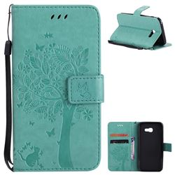 Embossing Butterfly Tree Leather Wallet Case for Samsung Galaxy A5 2017 A520 - Cyan