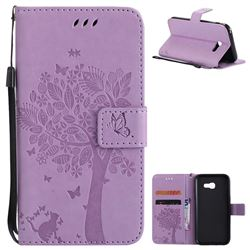 Embossing Butterfly Tree Leather Wallet Case for Samsung Galaxy A5 2017 A520 - Violet