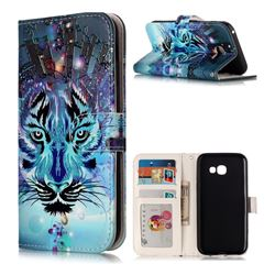 Ice Wolf 3D Relief Oil PU Leather Wallet Case for Samsung Galaxy A5 2017 A520