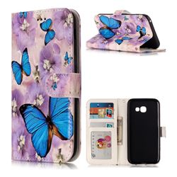 Purple Flowers Butterfly 3D Relief Oil PU Leather Wallet Case for Samsung Galaxy A5 2017 A520