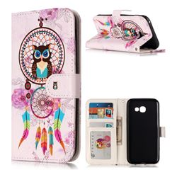 Wind Chimes Owl 3D Relief Oil PU Leather Wallet Case for Samsung Galaxy A5 2017 A520