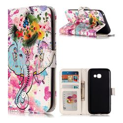 Flower Elephant 3D Relief Oil PU Leather Wallet Case for Samsung Galaxy A5 2017 A520