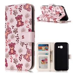 Cute Bear 3D Relief Oil PU Leather Wallet Case for Samsung Galaxy A5 2017 A520