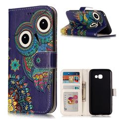 Folk Owl 3D Relief Oil PU Leather Wallet Case for Samsung Galaxy A5 2017 A520