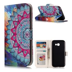 Mandala Flower 3D Relief Oil PU Leather Wallet Case for Samsung Galaxy A5 2017 A520