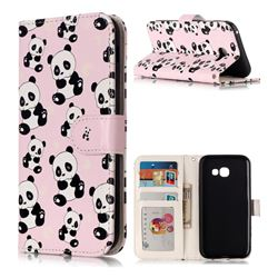 Cute Panda 3D Relief Oil PU Leather Wallet Case for Samsung Galaxy A5 2017 A520
