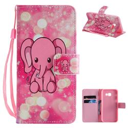 Pink Elephant PU Leather Wallet Case for Samsung Galaxy A5 2017 A520