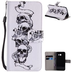 Skull Head PU Leather Wallet Case for Samsung Galaxy A5 2017 A520