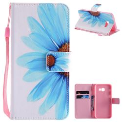 Blue Sunflower PU Leather Wallet Case for Samsung Galaxy A5 2017 A520
