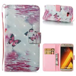 Purple Butterfly 3D Painted Leather Wallet Case for Samsung Galaxy A5 2017 A520