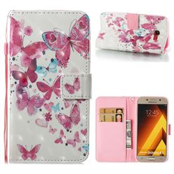 Heart Butterfly 3D Painted Leather Wallet Case for Samsung Galaxy A5 2017 A520