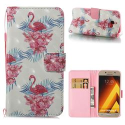Flamingo and Azaleas 3D Painted Leather Wallet Case for Samsung Galaxy A5 2017 A520