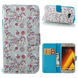 Playing Pony 3D Painted Leather Wallet Case for Samsung Galaxy A5 2017 A520