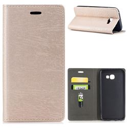 Tree Bark Pattern Automatic suction Leather Wallet Case for Samsung Galaxy A5 2017 A520 - Champagne Gold
