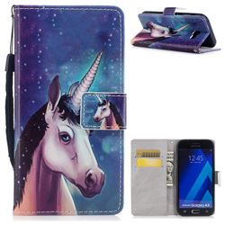 Blue Unicorn PU Leather Wallet Case for Samsung Galaxy A5 2017 A520