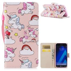 Rainbow Unicorn PU Leather Wallet Case for Samsung Galaxy A5 2017 A520