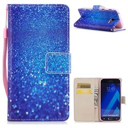 Blue Powder PU Leather Wallet Case for Samsung Galaxy A5 2017 A520