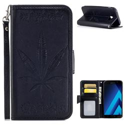 Intricate Embossing Maple Leather Wallet Case for Samsung Galaxy A5 2017 A520 - Black