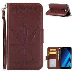 Intricate Embossing Maple Leather Wallet Case for Samsung Galaxy A5 2017 A520 - Brown